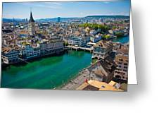 Zurich From The Grossmunster Greeting Card