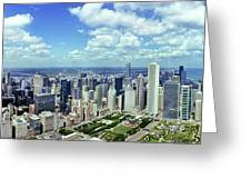 Aerial View Of A City, Chicago, Cook Greeting Card