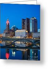 Fx2l-516 Columbus Ohio Night Skyline Photo Greeting Card
