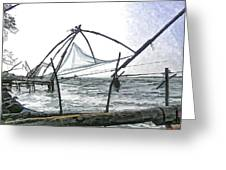 Fishing Nets On The Sea Coast In Alleppey Greeting Card