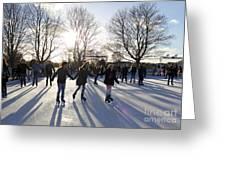 Ice Skating At Hampton Court Palace Ice Rink England Uk Greeting Card