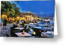 Molyvos Town In Lesvos Island Greeting Card