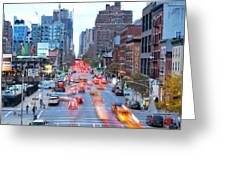 10th Avenue Rush Hour Greeting Card