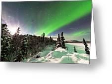 Intense Display Of Northern Lights Aurora Borealis Greeting Card