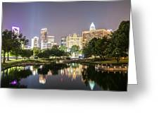 Skyline Of Uptown Charlotte North Carolina At Night Greeting Card