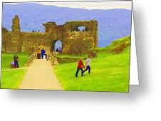 Tourists And The Path At Ruins Of The Urquhart Castle Greeting Card