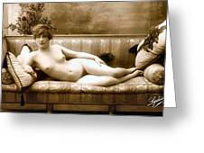 Vintage Nude Postcard Image Greeting Card
