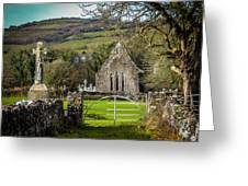 12th Century Cross And Church In Ireland Greeting Card