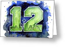12th Man Seahawks Art Seattle Go Hawks Greeting Card