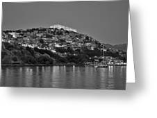 Molyvos Village During Dusk Time Greeting Card