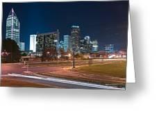 Skyline Of Uptown Charlotte North Carolina At Night. Greeting Card