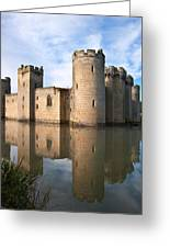 Stunning Moat And Castle In Autumn Fall Sunrise With Mist Over M Greeting Card