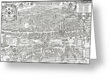 1576 Zurich Switzerland Map Greeting Card