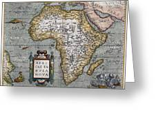 1584 Map Of Mysterious Africa Greeting Card