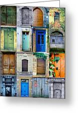 16 Doors In France Collage Greeting Card by Georgia Fowler
