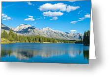 Lake With Mountains In The Background Greeting Card