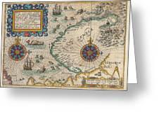 1601 De Bry And De Veer Map Of Nova Zembla And The Northeast Passage Greeting Card