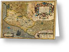 1606 Hondius And Mercator Map Of Mexico Geographicus Hispaniae Nova Mexico Mercator 1606 Greeting Card