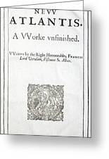 1627 Francis Bacon New Atlantis Frontis Greeting Card