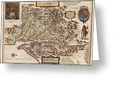 1630 Hondius Map Of Virginia And The Chesapeake Greeting Card by Paul Fearn