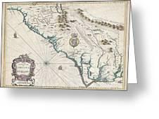 1676 John Speed Map Of Carolina Greeting Card by Paul Fearn