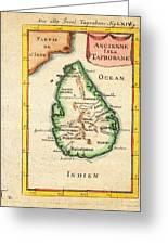 1686 Mallet Map Of Ceylon Or Sri Lanka Taprobane Geographicus Taprobane Mallet 1686 Greeting Card