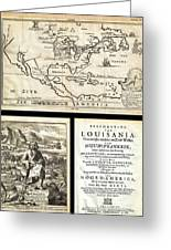 1688 Hennepin First Book And Map Of North America First Printed Map To Name Louisiana Geographicus N Greeting Card