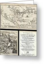 1688 Hennepin First Book And Map Of North America Greeting Card