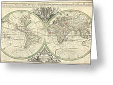 1691 Sanson Map Of The World On Hemisphere Projection Greeting Card