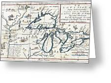 1696 Coronelli Map Of The Great Lakes Most Accurate Map Of The Great Lakes In The 17th Century Geogr Greeting Card
