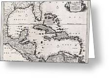 1696 Danckerts Map Of Florida The West Indies And The Caribbean Geographicus Westindies Dankerts 169 Greeting Card