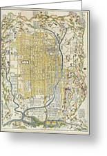 1696 Genroku 9 Early Edo Japanese Map Of Kyoto Japan Greeting Card