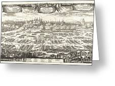 1697 Pufendorf View Of Krakow Cracow Poland Greeting Card