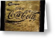Coca Cola Sign Grungy Retro Style Greeting Card