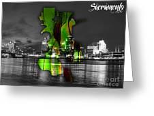 Sacramento Map And Skyline Watercolor Greeting Card