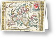 1706 De La Feuille Map Of Europe Greeting Card