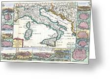 1706 De La Feuille Map Of Italy Greeting Card