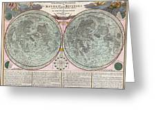 1707 Homann And Doppelmayr Map Of The Moon  Greeting Card