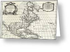 1708 De Lisle Map Of North America Covens And Mortier Ed Geographicus Ameriqueseptentrionale Covensm Greeting Card