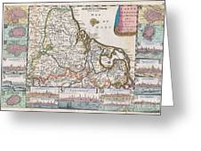 1710 De La Feuille Map Of The Netherlands Belgium And Luxembourg  Greeting Card
