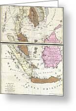 1710 Ottens Map Of Southeast Asia Singapore Thailand Siam Malaysia Sumatra Borneo Greeting Card