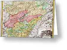 1716 Homann Map Of Burgundy France Geographicus Burgundiae Homan 1716 Greeting Card