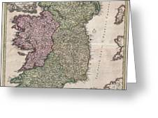 1716 Homann Map Of Ireland Greeting Card