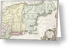 1716 Homann Map Of New England Greeting Card