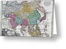 1730 C Homann Map Of Asia Geographicus Asiae Homann 1730 Greeting Card