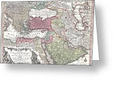 1730 Seutter Map Of Turkey Ottoman Empire Persia And Arabia Greeting Card