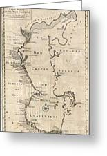 1730 Van Verden Map Of The Caspian Sea Greeting Card
