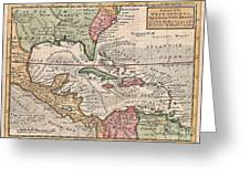 1732 Herman Moll Map Of The West Indies And Caribbean Greeting Card