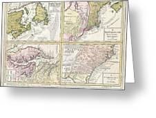 1737 Homann Heirs Map Of New England Georgia And Carolina And Virginia And Maryland Greeting Card