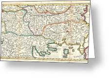 1738 Ratelband Map Of The Balkans Greeting Card